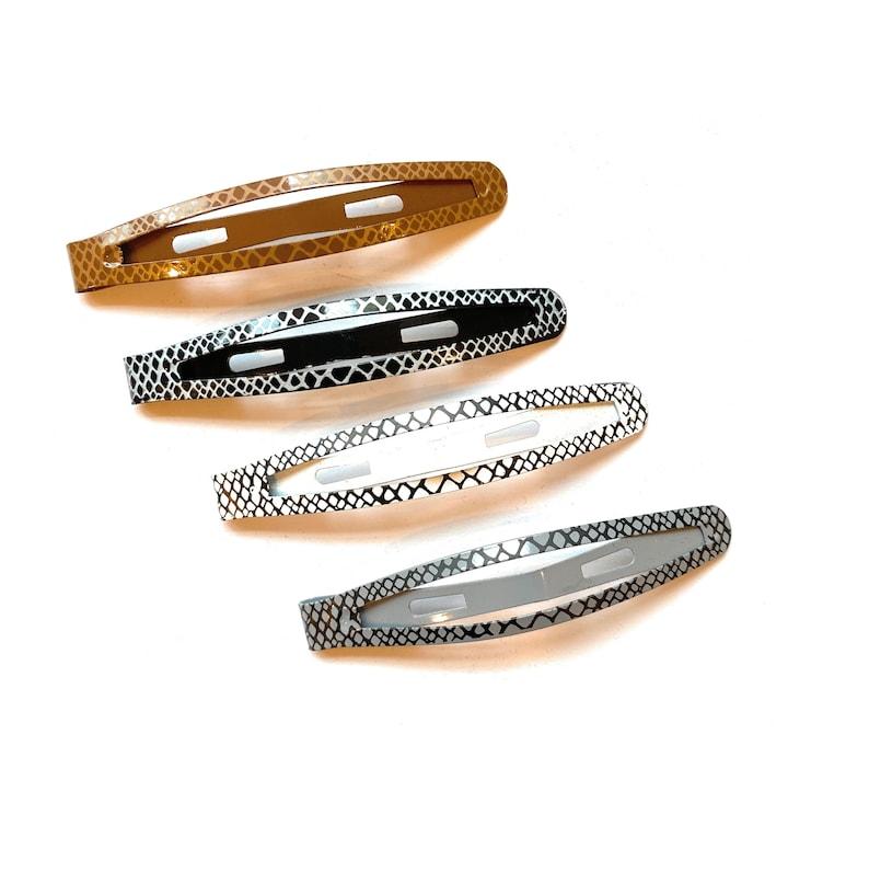 Girls White Gray Brown Teens Hair Accessories w Python Snake Print for Women Mia\u00ae Snip Snaps\u00ae Metal Contour Hair Clips Black 4PCS