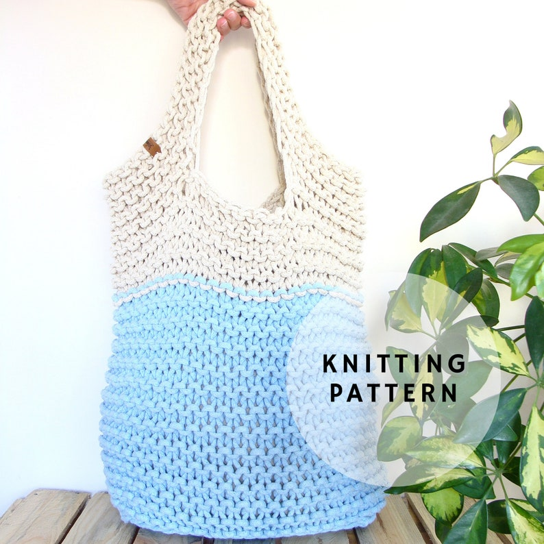 Knit bag pattern knitted slouchy bag pattern beginner | Etsy