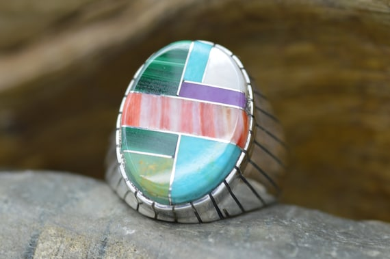 Size 12 men/'s ring inlay multi stones purple turquoise blue turquoise  sterling silver ring