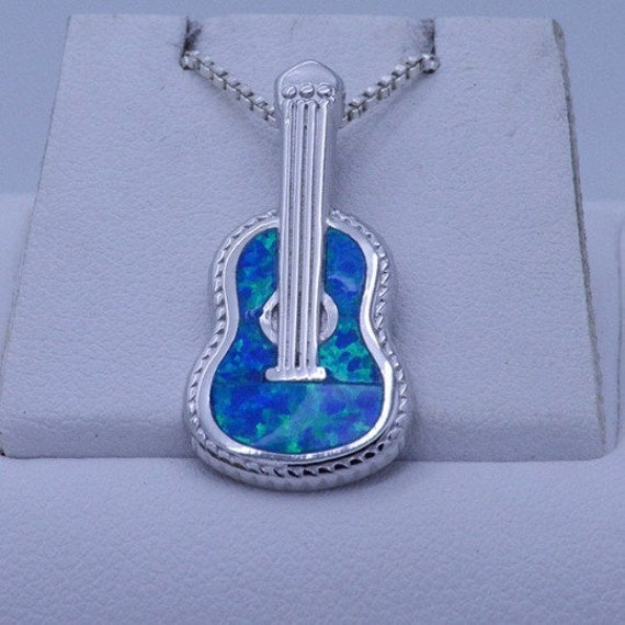 Sterling Silver Blue Opal Inlay Musical Jewelry Blue Opal Necklace Lovely Blue Opal Guitar Pendant With Silver Box Chain Necklace 18
