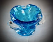 Mid century 5,5 quot wide Murano style Chalet glass blue hand blown ashtray bowl Canadian glass Winter tablescape Blue decor