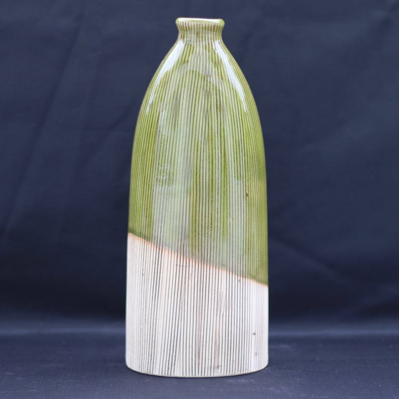 MCM Decor Unique display piece VTG Mid Century Modern 1970s Green and beige vase with finely ribbed lines Art vase