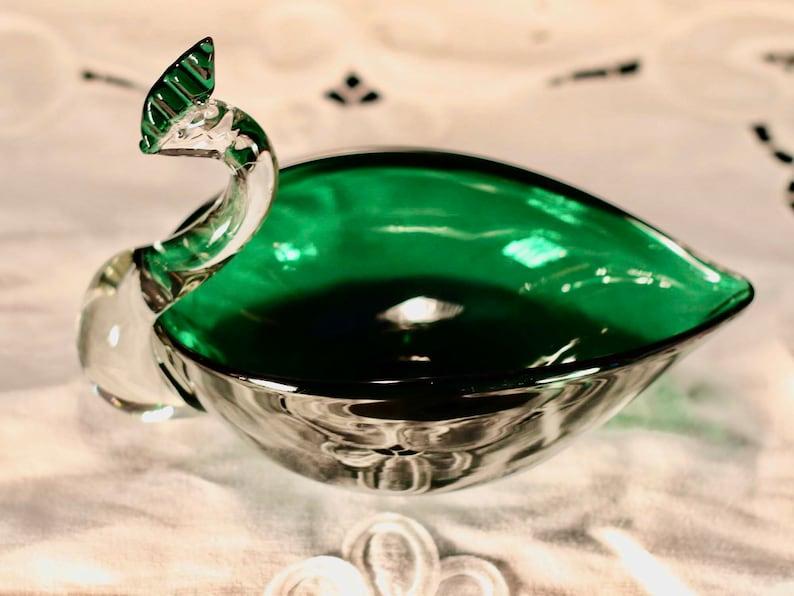 Vintage Lorraine hand blown art glass bird Candy dish Vanity dish Soap dish Candle holder Murano style Hostess gift Centerpiece