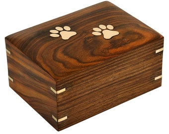 Wooden Cremation Urn For Dog Ashes  |  Solid Rosewood | Handmade Brass Paws Inlaid | Pet Memorial | Funeral Urns for Pet Ashes