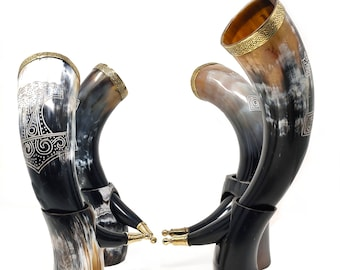Handmade Large Viking Drinking Horn With Stand Goblet Mug- Beer for Ale | Best Gift for Groomsman or Wedding (Thor Hammer, 14'' Large)