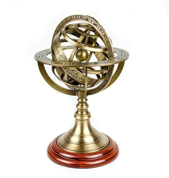 "6/"" Antique Style Brass Armillary Sphere Astrolabe Nautical Marine Tabletop Globe"