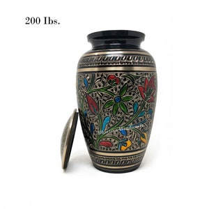 Burial Adult Cremation Decorative Urns for Human and Pet Ashes 200 Cubic Inches Large Aluminum Cast Red Rose Bhartiya Handicrafts Cremation Urns for Human Ashes Adult for Funeral Home