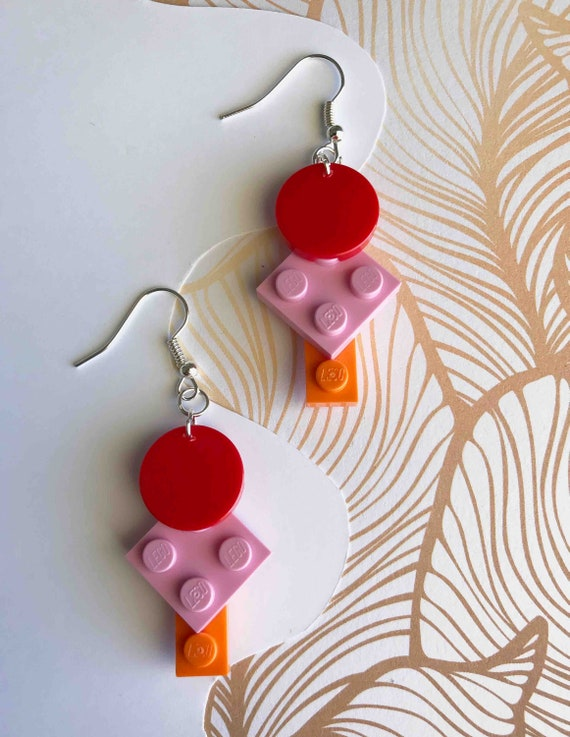 FREE POST Red Lime Lavender Pink LEGO Dangle Brick Earrings