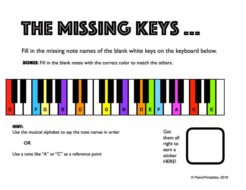 graphic relating to Piano Key Stickers Printable titled The Misplaced Keys - Printable Piano Worksheet For Lecturers and Pupils
