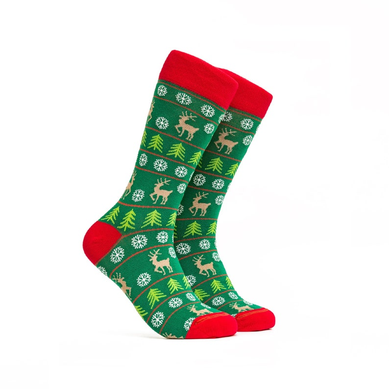 Snowflakes Christmas Socks Happy Gift For Him Her Merry Christmas Crew Socks Deer Womens Socks Green Pattern Mid Calf Socks