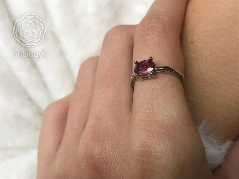pink gemstone engagement ring white gold 18k plated rings christmas gift for women Natural Pink Sapphire ring