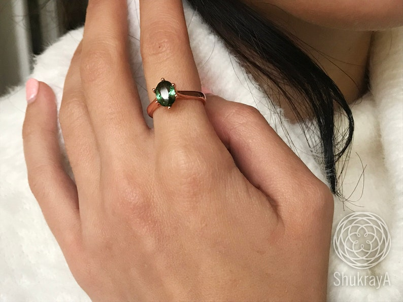 Natural BI color Green Tourmaline womens 18k rose gold plated silver ring engagement or promise pink gemstone ring Christmas gift for women