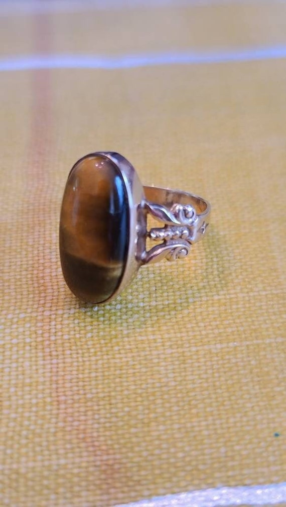 Wonderful Antique Tiger's Eye and 10K Yellow Gold