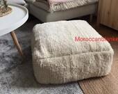 Moroccan pouf, White pouf, Berber pouf,Tribal pouf, square pouf, floor pouf, Large moroccan pouf, ,moroccan decor, handmade,(24 24 8 inches)