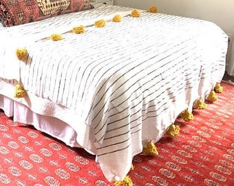 Moroccan blanket Throw with Pom Pom Cotton,79Wx118L200WX300L Moroccan Pom Pom Blanket Moroccan Bedding Moroccan Bed spread