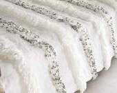 FREE SHIPPING Moroccan Wedding Blanket Handira WHITE with Metal Sequins,carpet moroccan,berberblanket,bedding blanket, Handmade High Quality