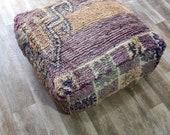 Moroccan Floor Cushion- Home decor, Moroccan poufs, -Wool Handmade Pillow- Home Chair- Floor Cushion Pouf,Handmade poufs, Berber pillow