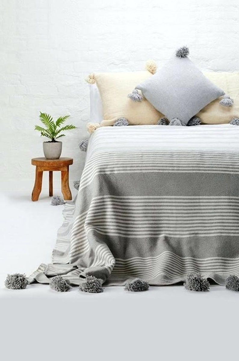 Couverture marocaine pom pom jet couvertures de coton literie marocain marocain \u00e0 la main surgit couverture Pom Pom