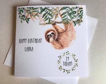 Personalised Sloth Birthday Card•Any Age•Male•Female•Boy•Girl