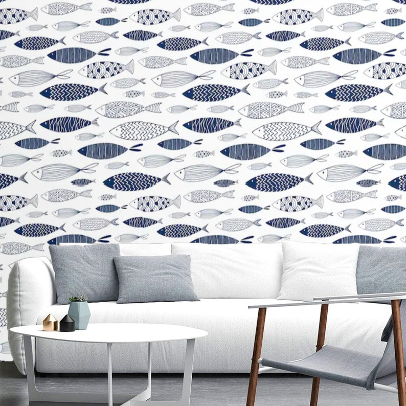 Nautical Wallpaper Peel And Stick Wallpaper Fish Wall Mural Etsy