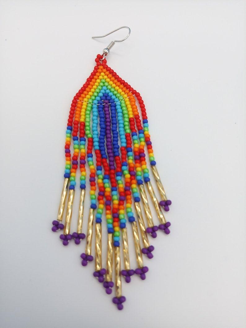 Beautiful Rainbow Design Native American Style Seed Bead Earrings Handmade