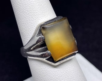 Yellow Tan Gemstone Statement Jewelry Art Deco 10k Rosy Gold Antique Size 10-1950s Agate Ring