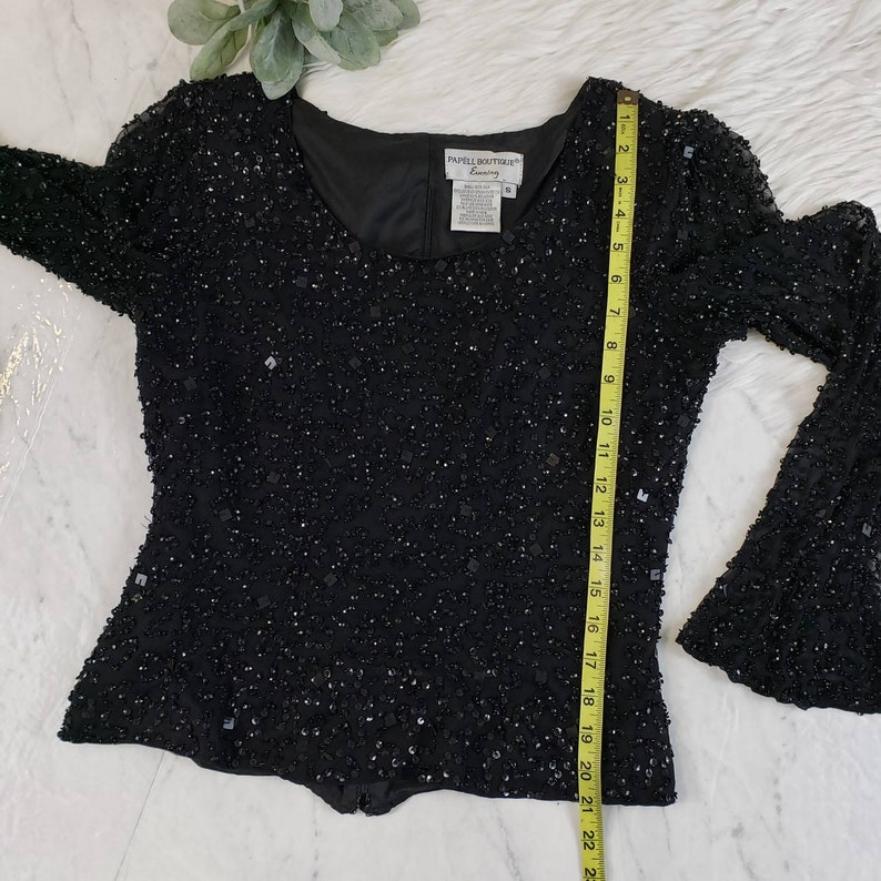 Vintage Adrianna Papell Beaded Sequin Black Bell Sleeve Top