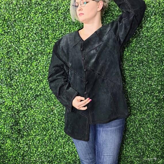 Vintage Black Leather Patchwork Jacket
