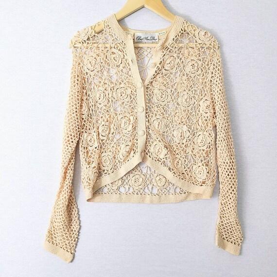 Vintage Crochet Knit Cottagecore Granny Square Flo