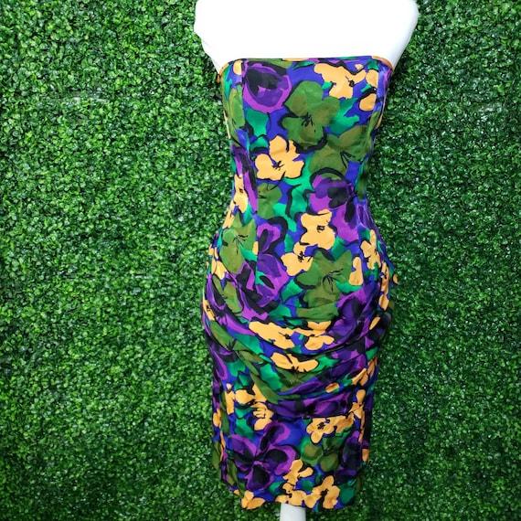 Vintage 1980s Flora Kung Silk Strapless Floral Dre