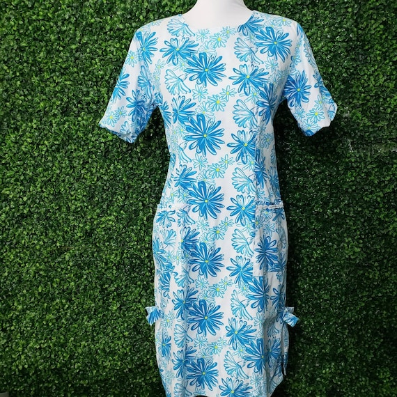 Vintage White Label Lilly Pulitzer Blue Daisy Flor