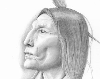 Native America Pencil Drawing Etsy