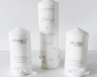 Lace Wedding Unity Candle Set | Wedding Unity Candle Set | Wedding Bonbonniere Favors | Baptism Candle | Christening Candle