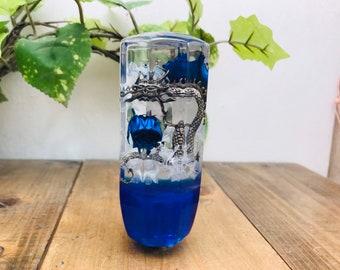 Underwater Flower Shift Knob Dragon, Rose and Hydrangea Blue