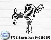 VINTAGE MICROPHONE in SVG, Retro microphone, Music, Musician, Musical notes, Svg files for cricut and silhouette, Paper cut template