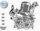 VINTAGE MICROPHONE in SVG, Floral microphone, Music, Flowers, Musical notes, Svg files for cricut and silhouette, Paper cut template