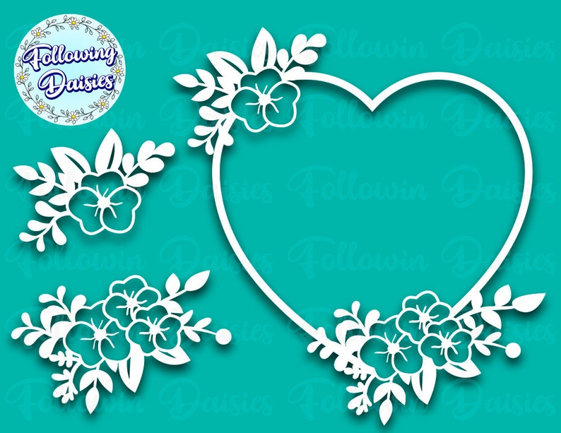 Heart decorated with flowers Paper cut template FLORAL HEART in SVG Floral bouquets in svg Svg files for cricut and silhouette