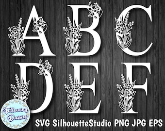 FLORAL ALPHABET A-Z in Svg, Complete Alphabet, Decorative Initials, Paper cut templates, Instant Download, Svg for Cricut and Silhouette