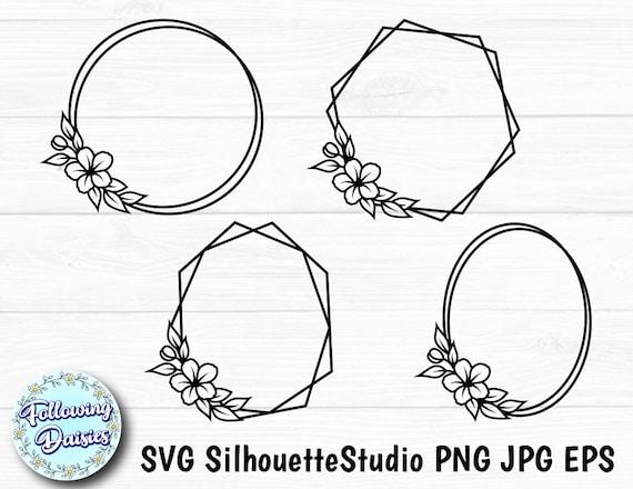 Download FLORAL FRAMES in SVG No.1 Geometric frames Monogram frame ...