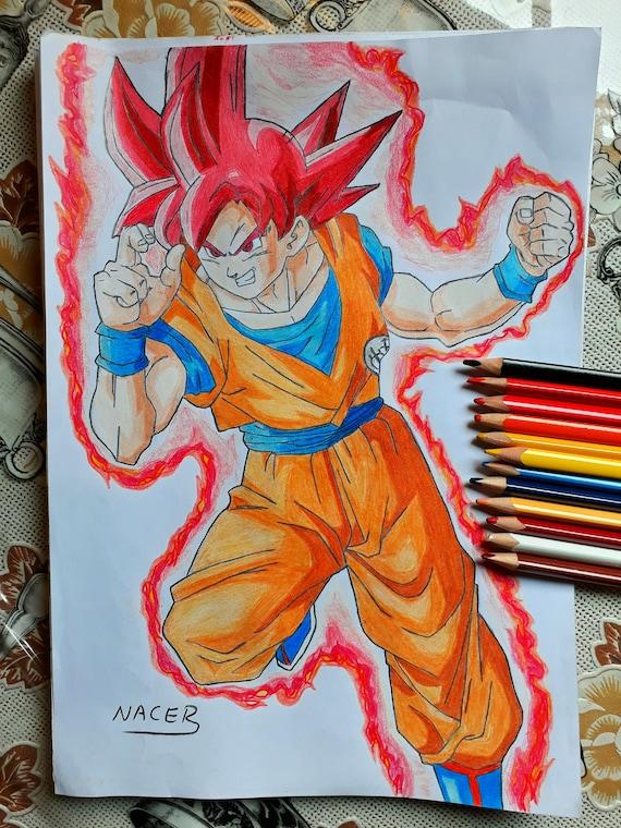 Son Son Goku Ssj God In Color Dragon Ball Z Battle Of Gods Etsy