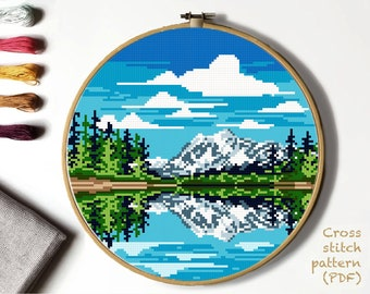 Sunset at Crater Lake Chart Counted Cross Stitch Patterns Needlework DIY DMC