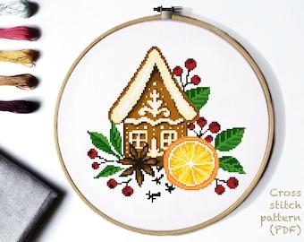 Christmas Modern Cross Stitch Pattern, gingerbread cross stitch chart, orange,clove, cardamom,  nature cross stitch, Instant download PDF