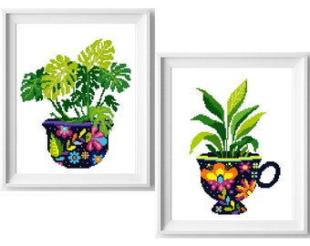 Floral  Cross Stitch Pattern, flower in a pot cross stitch chart, hoop embroidery, nature cross stitch, Instant download PDF
