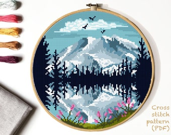 Mount Rainier national park Modern Cross Stitch Pattern, nature counted cross stitch chart, landscape, mountains, lake , forest, instant PDF