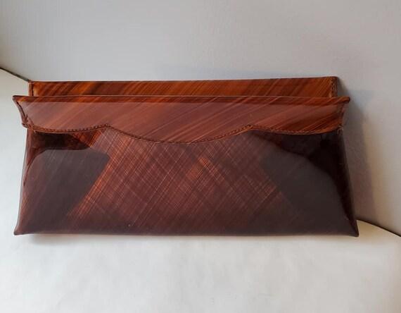 "Vintage Brown Patterned Plastic Clutch  70""s"