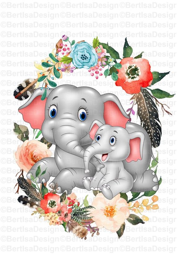 Sublimation Design Mother And Baby Elephant Watercolor Png Etsy — inside a yellow plant pot with the words grow. sublimation design mother and baby elephant watercolor png clipart instant digital download floral flowers sublimation graphics bdi 2