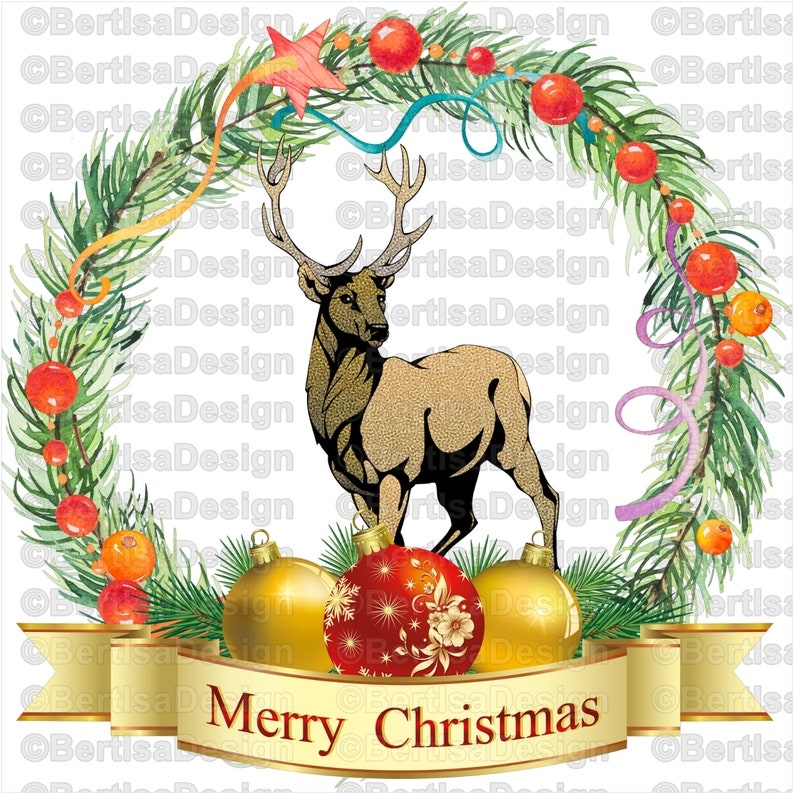Christmas Deer PNG Glitter Deer-Digital file Deer Sublimation Clip-art Christmas Wreath