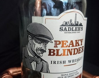 LIMITED EDITION! Steam Punk Bottle Dram Lamp – Peaky Blinders Irish Whisky  (Eco-friendly)