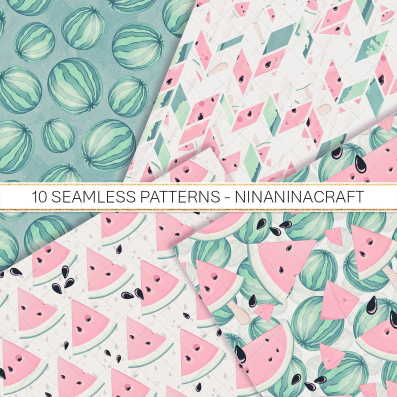 Summer Fruit Seamless Patterns Pastel Cute Watermelon Clip Art Watermelon Digital Papers Watermelon Slices Clipart Instant Download PNG