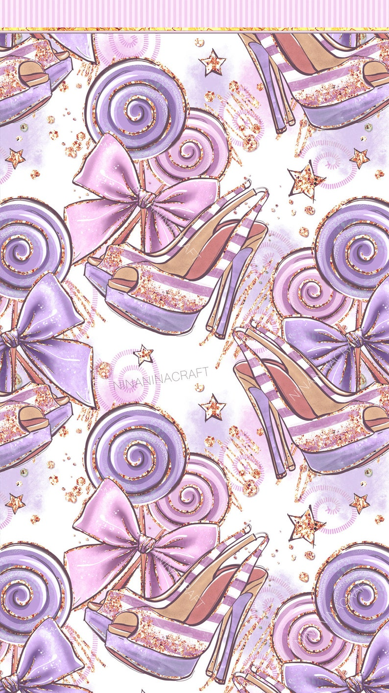 Girly Seamless Patterns Presents Shoes Heels Candy Lollipop Papers Cute Purple Clip Art Roses PNG Pretty Glitter Planner Stickers Bow